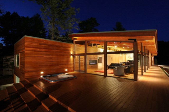 Modern style villa Airy wooden and glass (2)