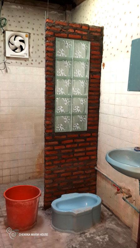 blue restroom renovation review (10)