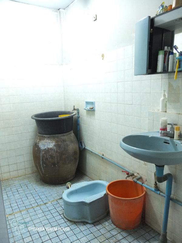 blue restroom renovation review (2)