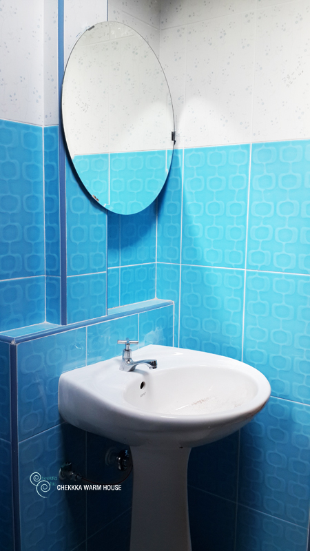 blue restroom renovation review (25)