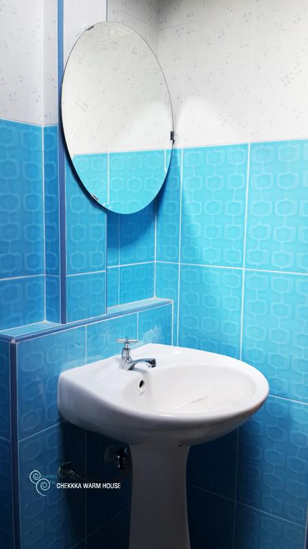 blue restroom renovation review (25)