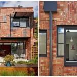 บ้านสองชั้นโมเดิร์น ตกแต่งด้วยอิฐสีแดงสด ดูแปลกตาแต่สวยงาม