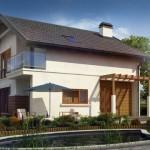 บ้านสองชั้นหลังคาจั่ว ออกแบบในสไตล์ร่วมสมัย ดูภูมิฐานลงตัว