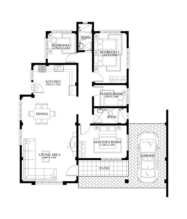 1 floor sandstone single house plan (4)