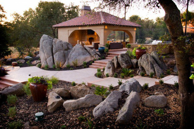 18 landscape designs with rocks stones (14)