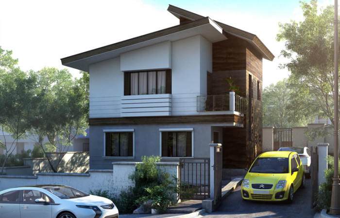2 storey modern concrete wood house (1)