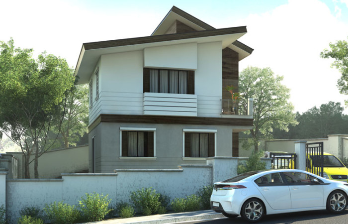 2 storey modern concrete wood house (2)
