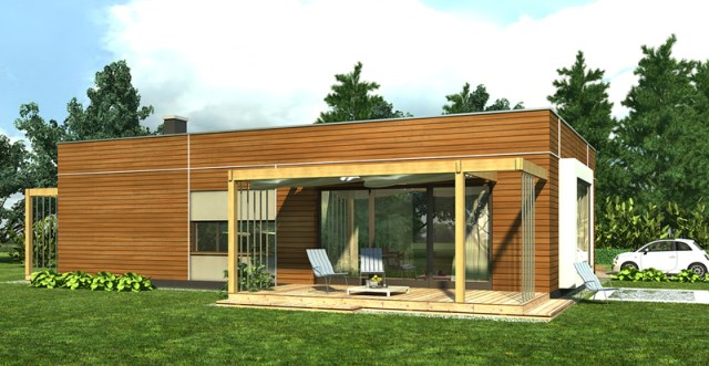 Modern home simple shapes Decorated with wood (1)