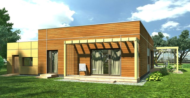 Modern home simple shapes Decorated with wood (2)