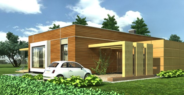 Modern home simple shapes Decorated with wood (3)