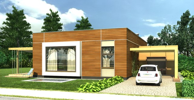 Modern home simple shapes Decorated with wood (4)