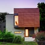บ้านโมเดิร์น ดีไซน์รูปทรงกล่อง ผสมงานไม้ อิฐ และกระจก