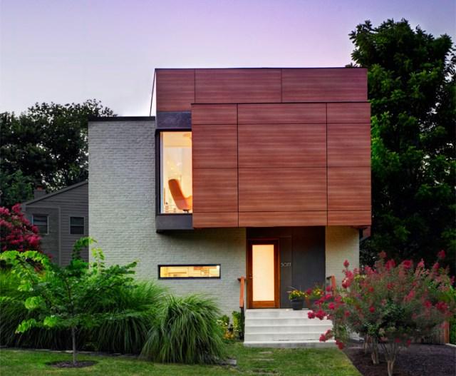 Modern homemixture of wood  brick and glass (3)