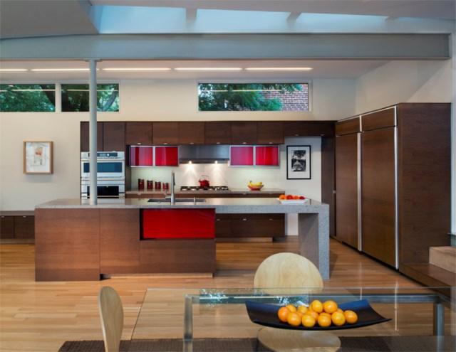 Modern homemixture of wood  brick and glass (6)