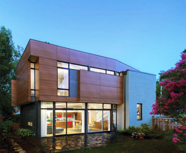 Modern homemixture of wood  brick and glass (7)