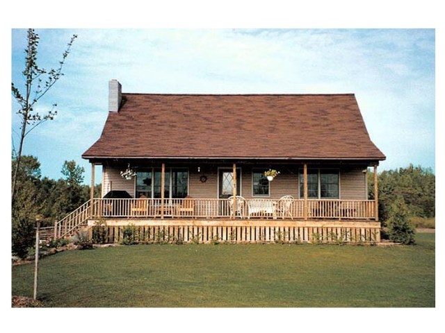 Rustic wooden house with high front porch  (1)