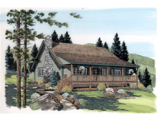 Rustic wooden house with high front porch  (5)