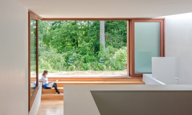 Two-story house modern shape materials from wood and glass (3)