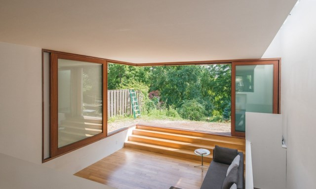 Two-story house modern shape materials from wood and glass (4)