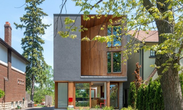 Two-story house modern shape materials from wood and glass (5)