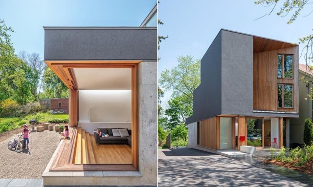 Two-story house modern shape materials from wood and glass (6)