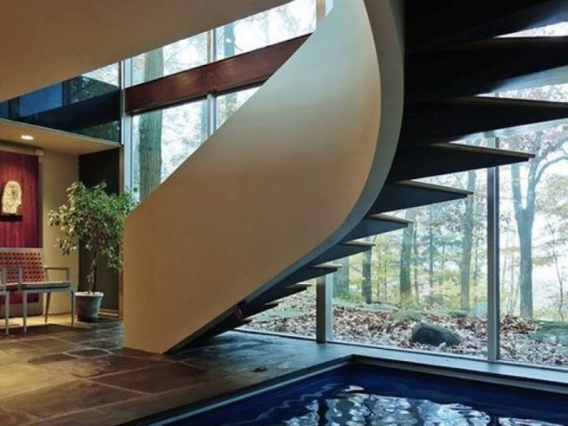 Villa house Decorated with steel stone and glass (9)