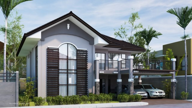 contemporary two-storey house elegant shape (2)