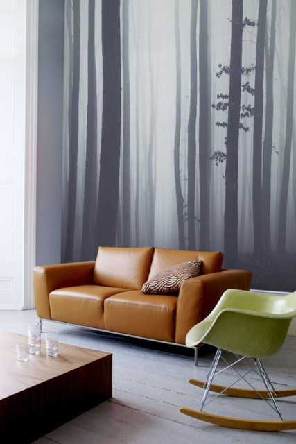 forest-wallpaper-decor-in-living-area