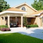 บ้านเดี่ยวขนาดกลาง รูปทรงคลาสสิค ตกแต่งด้วยหินทราย และหลังคาทรงหน้าจั่ว