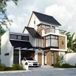 บ้านโมเดิร์นสามชั้น ดีไซน์มีจังหวะทันสมัย สะท้อนงานออกแบบสมัยใหม่ ของคนในเมือง