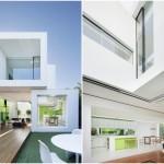บ้านโมเดิร์นรูปทรงกล่อง โดดเด่นกับสีขาวเขียว สะท้อนรสนิยมสมัยใหม่