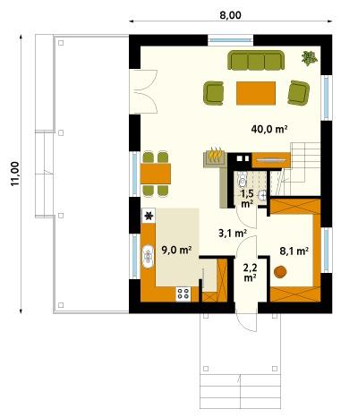 two-storey contemporary house With veranda and garden (1)