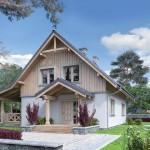 บ้านสองชั้นสไตล์ร่วมสมัย ตกแต่งด้วยวัสดุใกล้ตัว พร้อมเฉลียงและสวนสวย