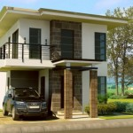 บ้านโมเดิร์นสองชั้น รูปทรงสวยงามและภูมิฐาน ตกแต่งด้วยหินทรายและกระจก