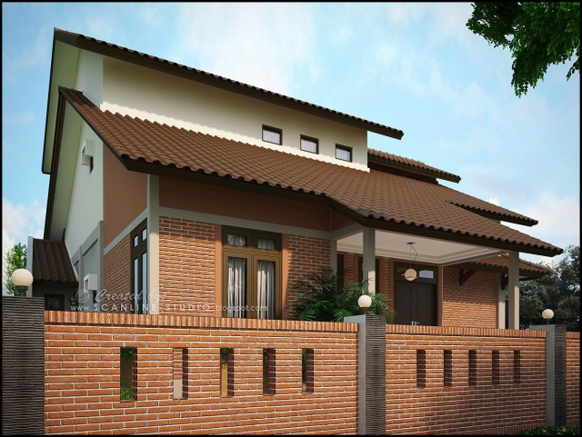 two -story contemporary home Decor brick (1)