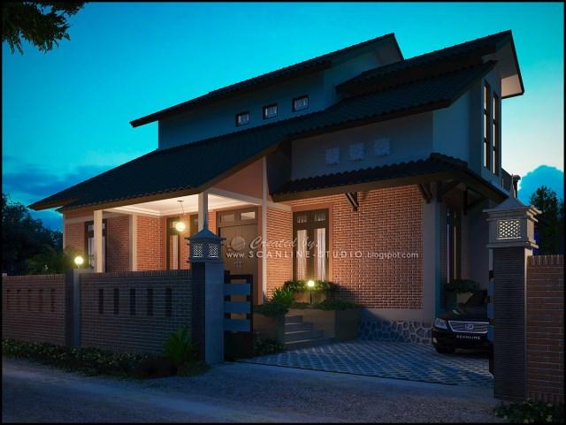 two -story contemporary home Decor brick (5)