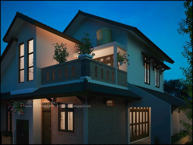two -story contemporary home Decor brick (8)