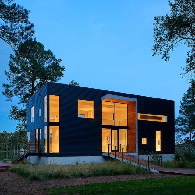 villa house Modern Style shape black dark (3)