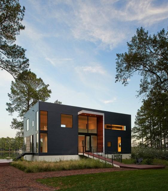 villa house Modern Style shape black dark (5)