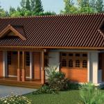 แบบบ้านชั้นเดียวทรงหน้ากว้าง แต่งไม้สีสักทองสวยเด่น ในรูปแบบที่เรียบง่ายแต่โดนใจ