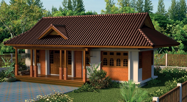 1 floor contemporary wide facade teak house (1)