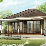 แบบบ้านชั้นเดียว หลังคาทรงปั้นหยา ขนาด 2 ห้องนอน เรียบง่ายและโปร่งโล่ง ออกแบบรองรับผู้สูงอายุ