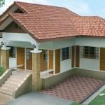 แบบบ้านชั้นเดียวสไตล์ร่วมสมัย 3 ห้องนอน 2 ห้องน้ำ สวยเด่นด้วยหลังคาสีประกายทอง