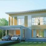 แบบบ้านสองชั้นสไตล์โมเดิร์น โปร่งโล่งอยู่สบาย พร้อมชานบ้านไว้รับชมวิวธรรมชาติ