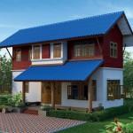 แบบบ้านไทยประยุกต์ ครึ่งปูนครึ่งไม้ สวยด้วยผนังไม้ฝา หลังคาสีน้ำเงินเด่น