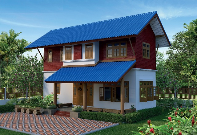 2 stories blue roof thai contemporary house (1)