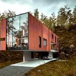 บ้านโมเดิร์นรูปทรงกล่อง วัสดุจากไม้และกระจก เข้ากับดีไซน์ทันสมัย