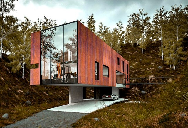 Modern house Materials of wood and glass (7)