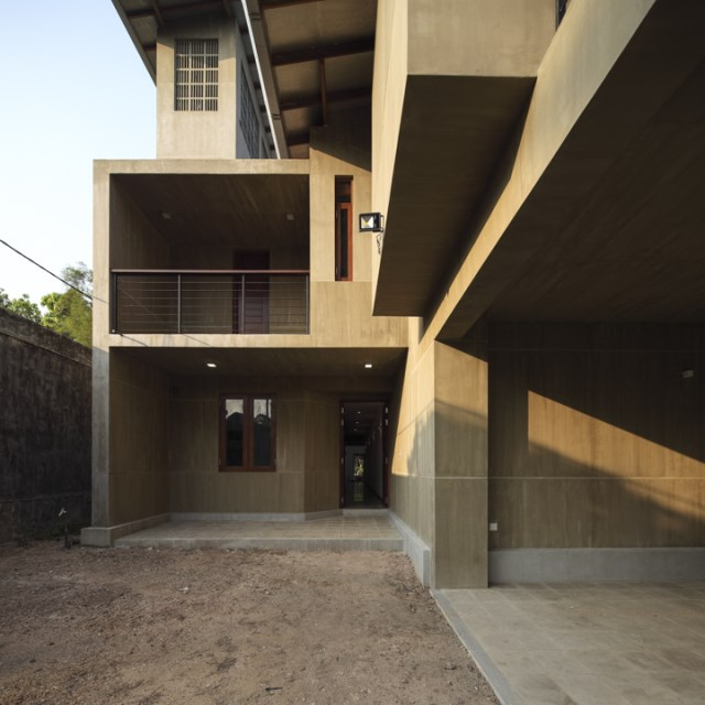 Modern villa cement houses Two-storey house (14)