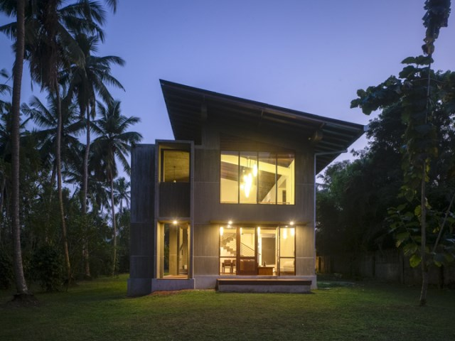 Modern villa cement houses Two-storey house (4)